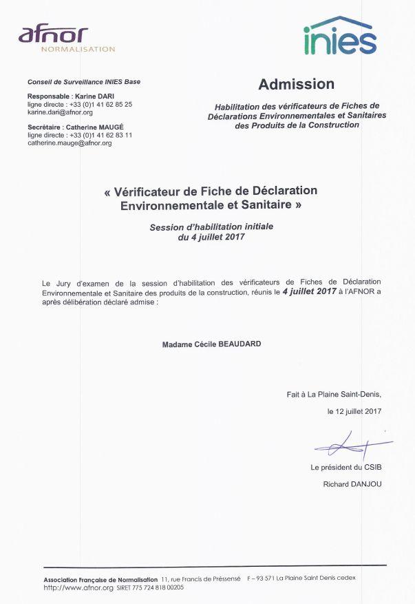 Habilitation Vérification FDES CBeaudard